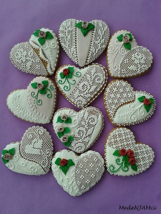 Needlepoint Heart Cookies