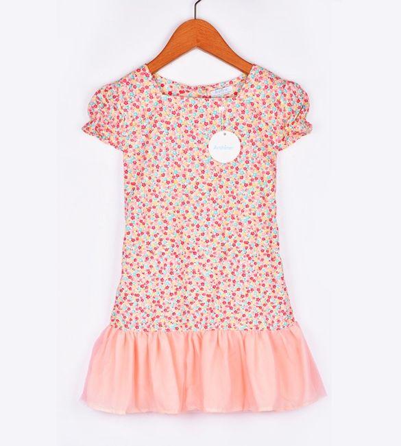 Arshiner Fashion Children Kids Girl's Wear Cap Sleeve Floral Dress Splicing Net Yarn Mini Casual Dress $15.92 Free Shipping!