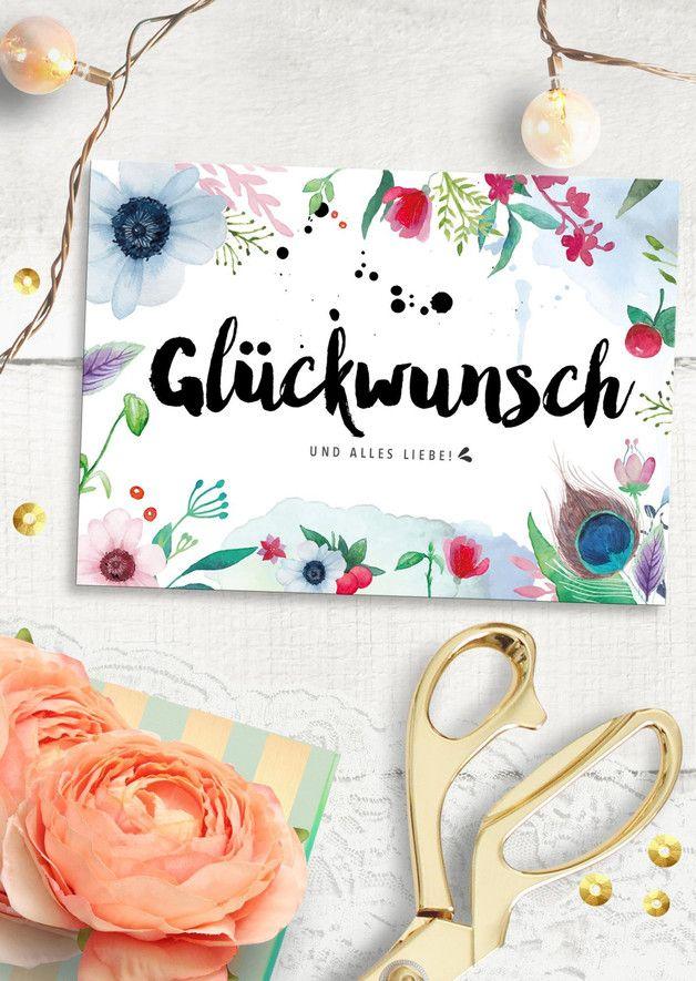 Wunderschöne Geburtstagskarte mit Blumen und Illustration / beautiful illustrated birthday card with flowers by The Bird who told via DaWanda.com