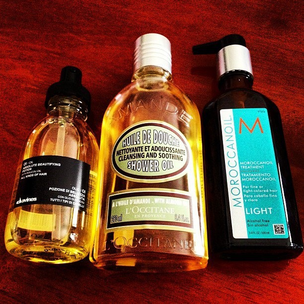 One could say that I'm an oil tycoon.... #moroccanoil #Loccitane #davines
