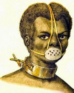 """""""Punishment for slaves. Painting of African person with neck shackled and mouth muzzled. Jacques Etienne Arago. Castigo de Escravos, 1839. English: Punishiment for slaves. Português: Castigo de Escravo. Museu Afro Brasil (São Paulo)""""    http://usslave.blogspot.fr/2012/03/story-of-legendary-icon-anastacia.html"""