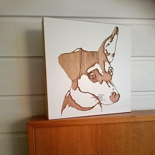 Wooden dog portrait,  from Woodface Norway