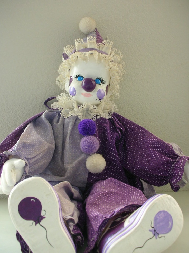 Vintage Clown Doll Ceramic Face Hands.  matches my room!!!!.