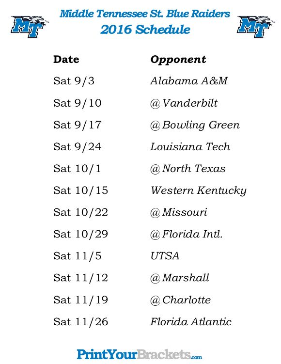 Printable Middle Tennessee St Blue Raiders Football Schedule 2016
