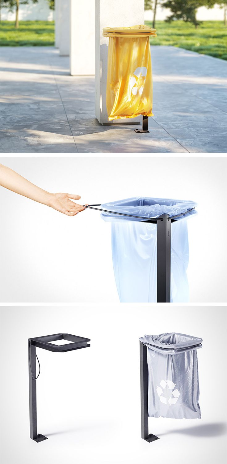 The latest from city park accessory master Art Lebedev, the Urnus-14 design is a compact and easy-to-service trash can. The stark metal structure is barely-there compared to other monolithic garbage bin designs but depending on color of the trash bag used, it can also stand out. It's also easier to reset by maintenance personnel. A built-in rubber band holds the bag rim in place, ensuring it doesn't slip out of the grooved holder.