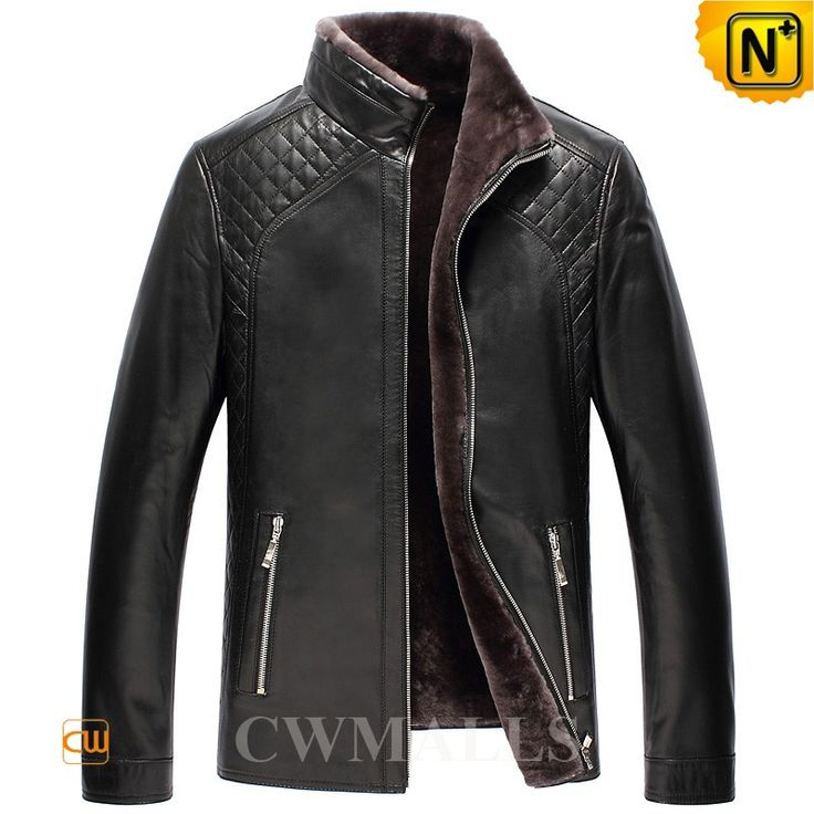 CWMALLS Black Quilted Shearling Lined Jacket CW870135 Black sheepskin shearling jacket for men, crafted from natural sheepskin with shearling lining, features in stand up collar, full zipper front, side zipper pockets and quilted details on the shoulder, this black shearling jacket is great for winter. www.cwmalls.com PayPal Available (Price: $1357.89) Email:sales@cwmalls.com