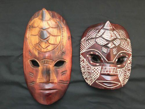 Fiji-Carved-Wood-Mask-Wall-Decor-Couple-2-pcs-Brown-M05-6