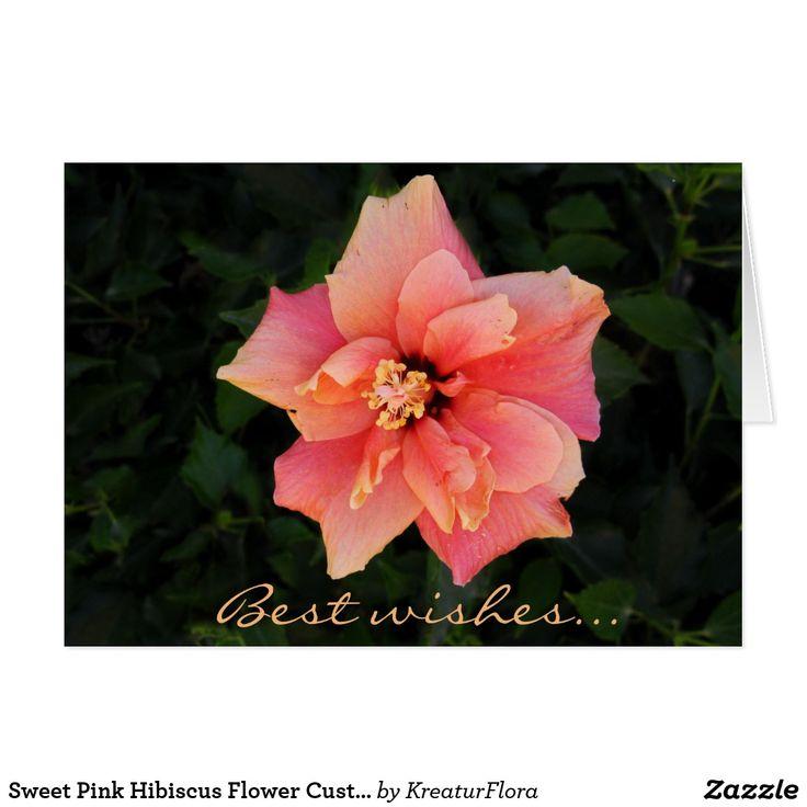 Sweet Pink Hibiscus Flower Custom Text