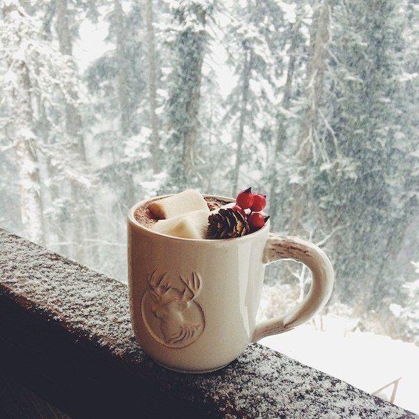 Картинки доброе снежное утро с кофе, пусть будет