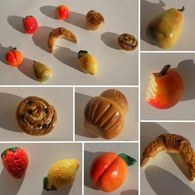 Magnets Fruits et viennoiseries en fimo