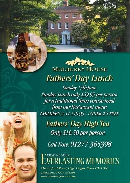 By Mulberry House @Mulberry House We Are Now Taking Bookings For Fathers Day Sunday Lunches & High Teas...For Further Information Call Our Mulberry House Team On 01277 365398...Spoil Your Dad This Fathers Day.... http://www.mulberry-house.com/