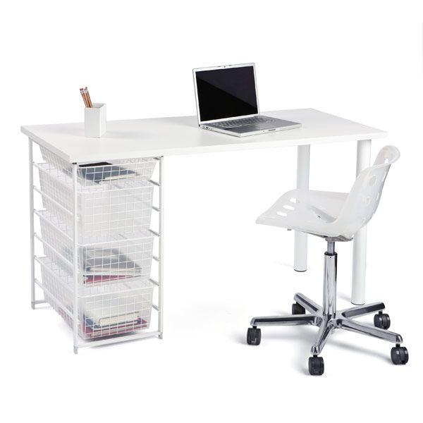 The container store elfa melamine desk top apartment for Elfa desk system