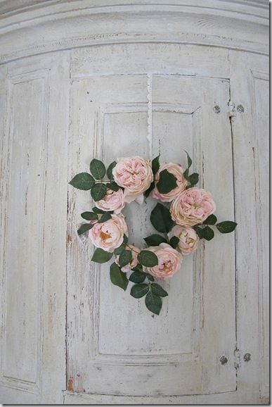 Corner China Cabinet Rose Wreath Whitewashed Chippy Shabby chic French country rustic Swedish decor idea