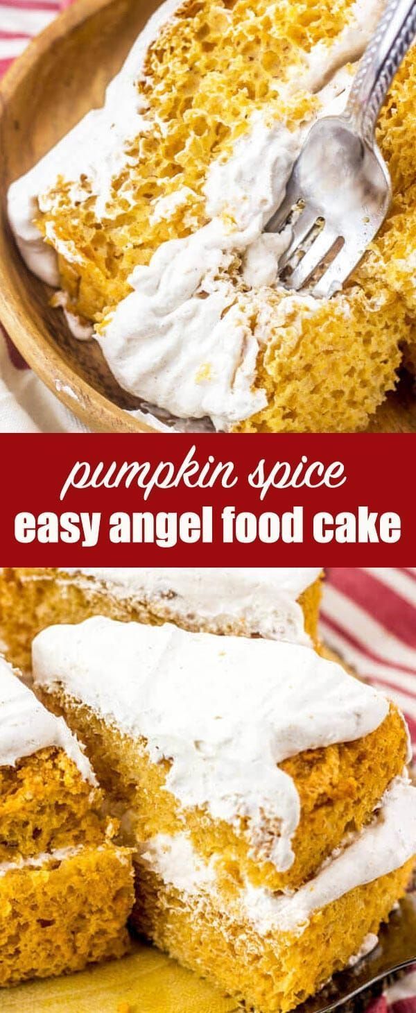 Pumpkin Angel Food Cake Recipe {with Cool Whip Frosting} Looking for a unique pumpkin dessert recipe? Give this easy, light Pumpkin Angel Food Cake recipe a try. You'll love the simple spiced whipped topping.  via @thebestcakerecipes