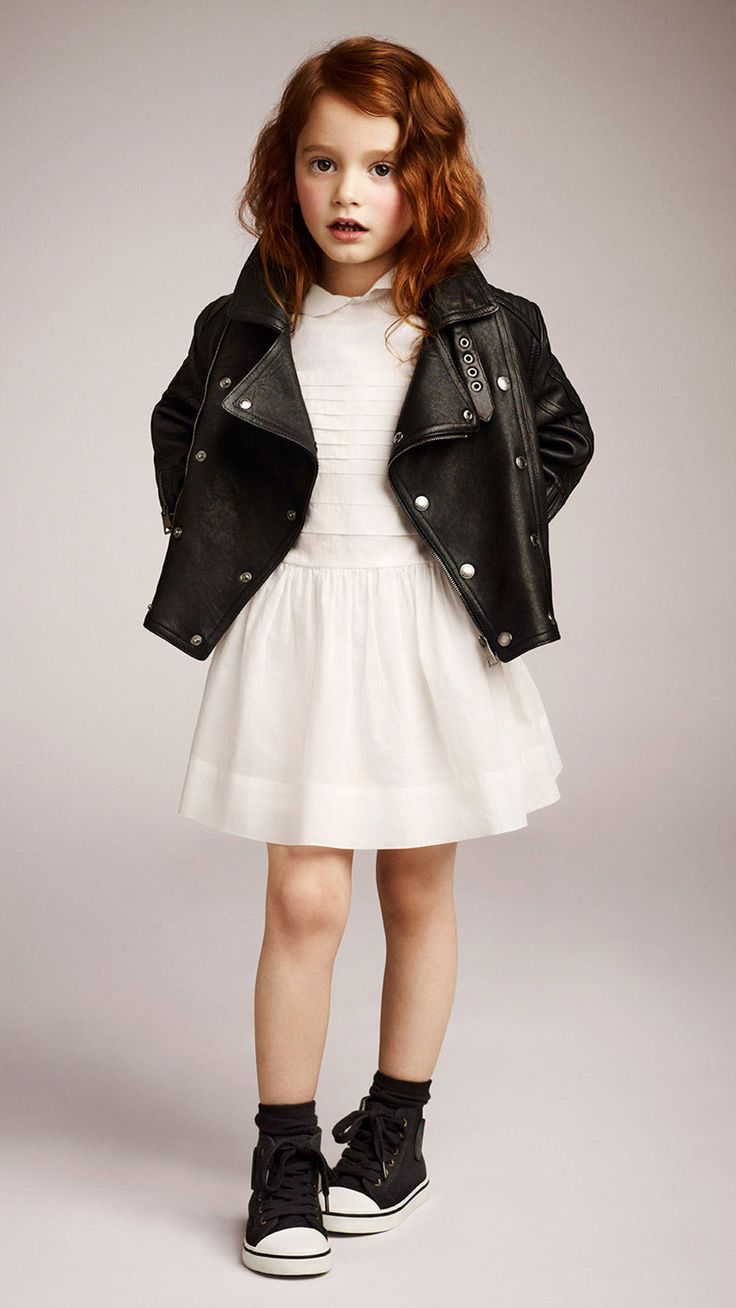 ivory dress and leather jacket Tween outfit