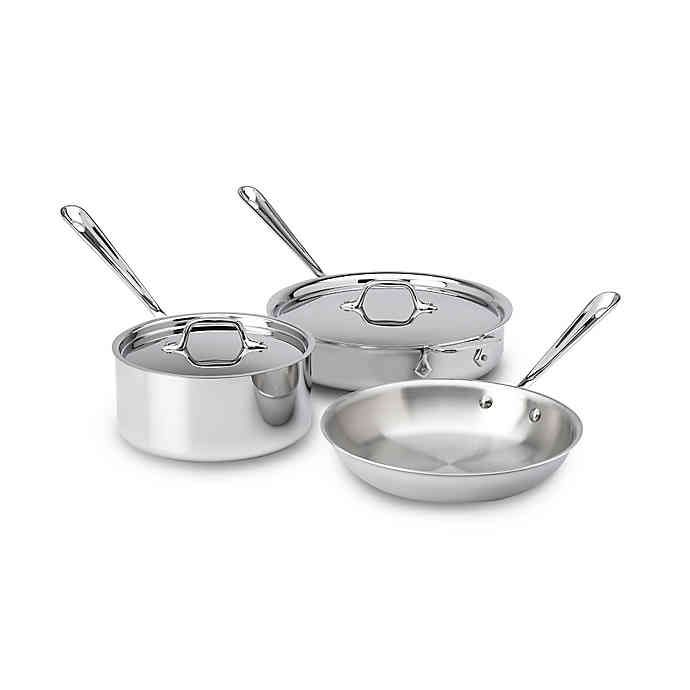 All Clad 3 Ply Stainless Steel Cookware Collection In 2020 Cookware Set Cookware Set Stainless Steel Dishwasher Safe Cookware