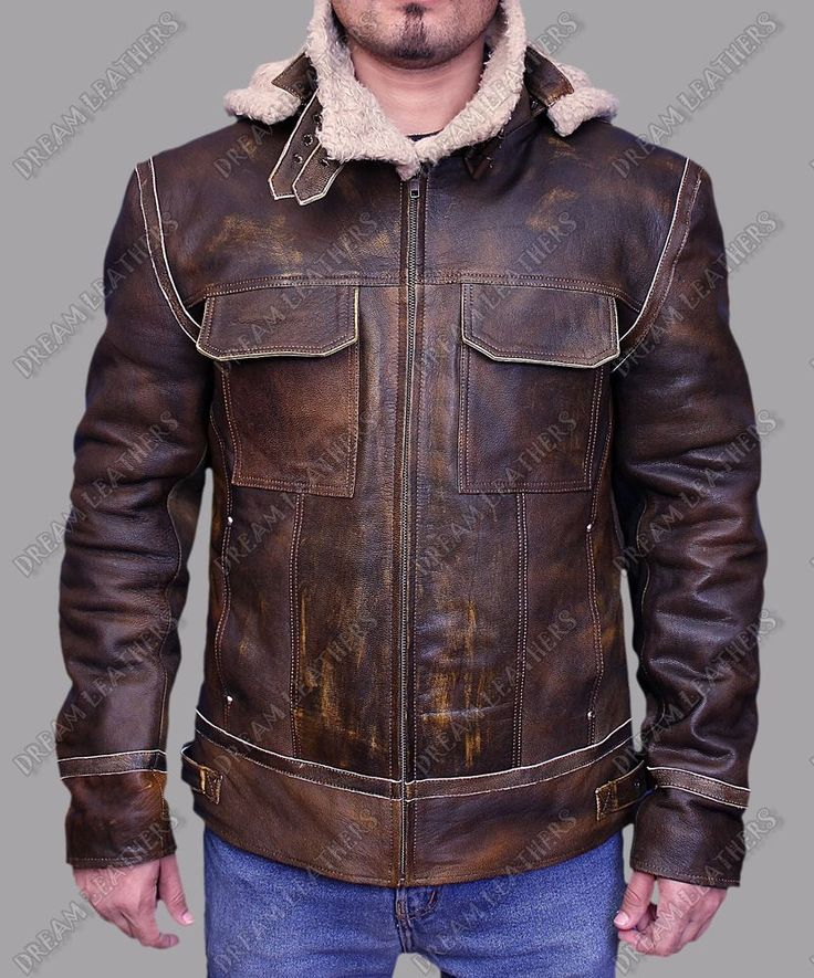 Mens Vintage Distressed Aviator Shearling Fur Hooded Real