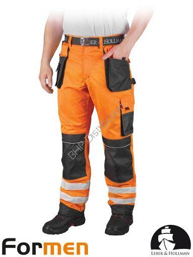 Pomarańczowe spodnie robocze do pasa z pasami odblaskowymi LH-FMNX-T (PSB)