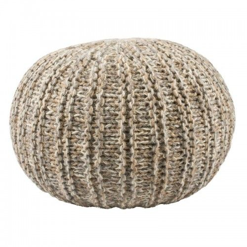 Handmade Wool Pouf $259 AUD - A pouf is the softest seat in the house. It can double as a side table. Quite often it becomes the most coveted seat in the room. The spherical knit pouf is a 100 percent wool handmade creation. A neutral colour and braided-texture make the piece an elegant option for more seating in the bedroom or living room.   Pouf Size: approx. 30 cm (H) x 40 cm (L) x 40 cm (W) #HandmadeWoolPouf