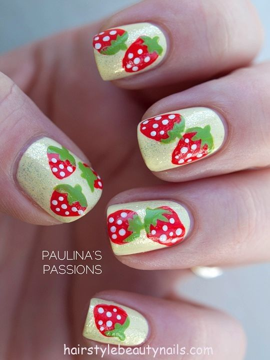 strawberry nails art design picture photo image beauty (9) http://www.hairstylebeautynails.com/nails-designs/strawberry-nails-design-4/