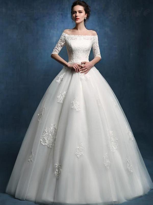 Doresuwe.com SUPPLIES 新作オフショルダー袖付きの高級レースウェディングドレス 花嫁ドレス 2016 ウェディングドレス