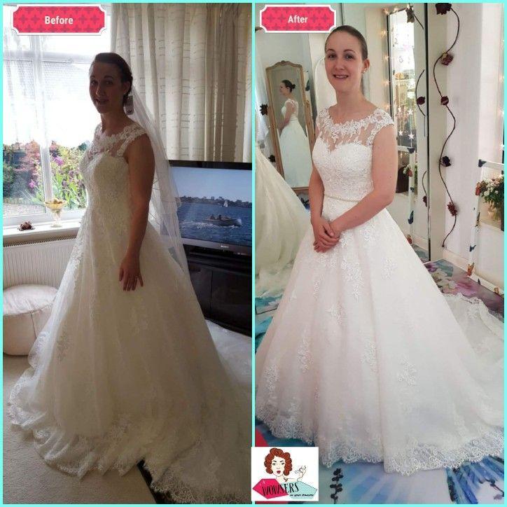 Shoulders Lifted Hem Shortened Belt And Bustle Hook Added Bronwyn Wedding Dress From We After Wedding Dress Wedding Dress Alterations Pretty Wedding Dresses