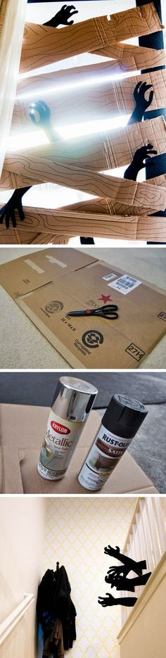 I know it looks creepy, but this looks like lots of fun for Halloween!!  Cardboard Zombie Barricade | Click Pic for 20 DIY Halloween Decorations for Kids to Make | Cheap and Easy Halloween Decorations on a Budget