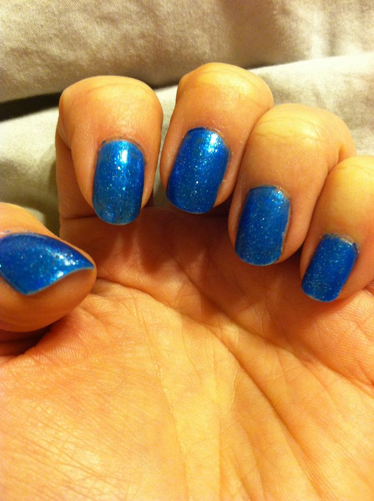 Blue Glitter nails. My favorite color :)