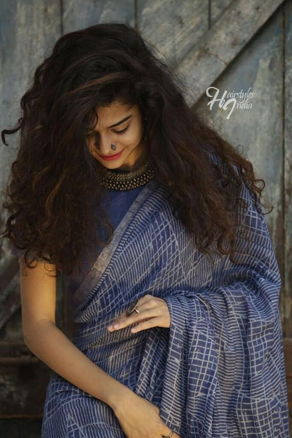Karwaan Actress Mithila Palkar Inspired Curly Hairstyles Saree Hairstyles Saree Photoshoot Indian Photoshoot