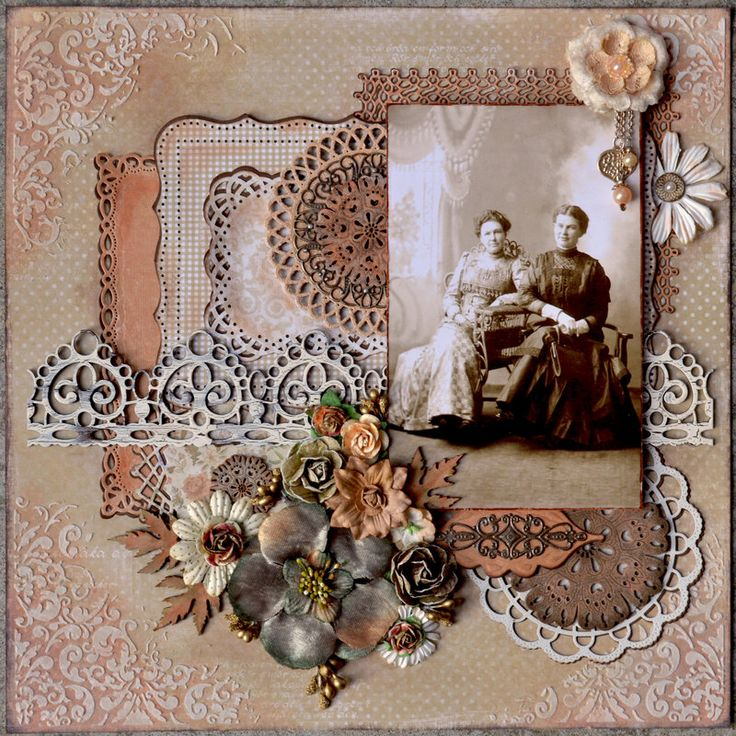 Jenny and Anna ~ A soft tan and rust color palette highlights the tones of a faded sepia print photo beautifully. Love the different punched matts with lacy edges...very feminine with a great vintage look.