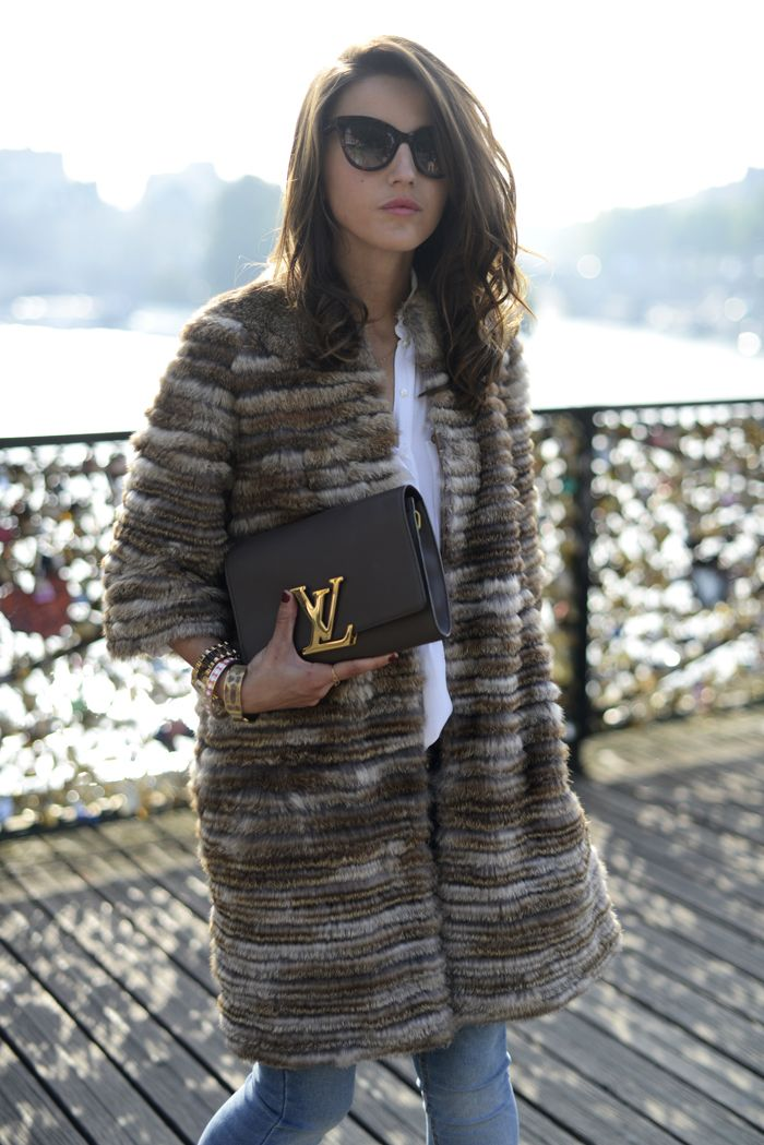 Louis Vuitton, Fur or Faux Fur , jeans and black knee high heal boots equals #fall! Love it :)!