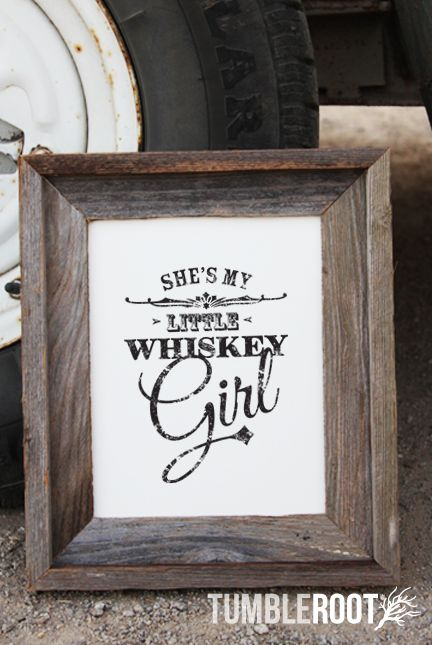 """She's my little whiskey girl"" country song print inspired by Toby Keith! Black ink on Luxe Cream"