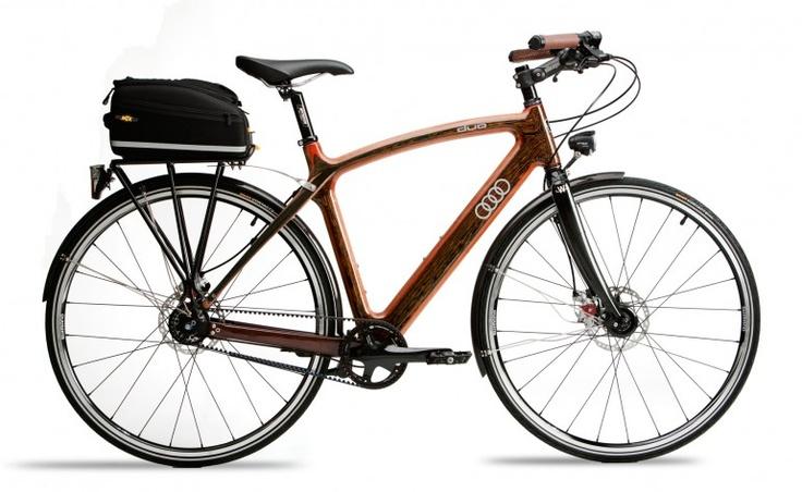 Audi bike made of wood.