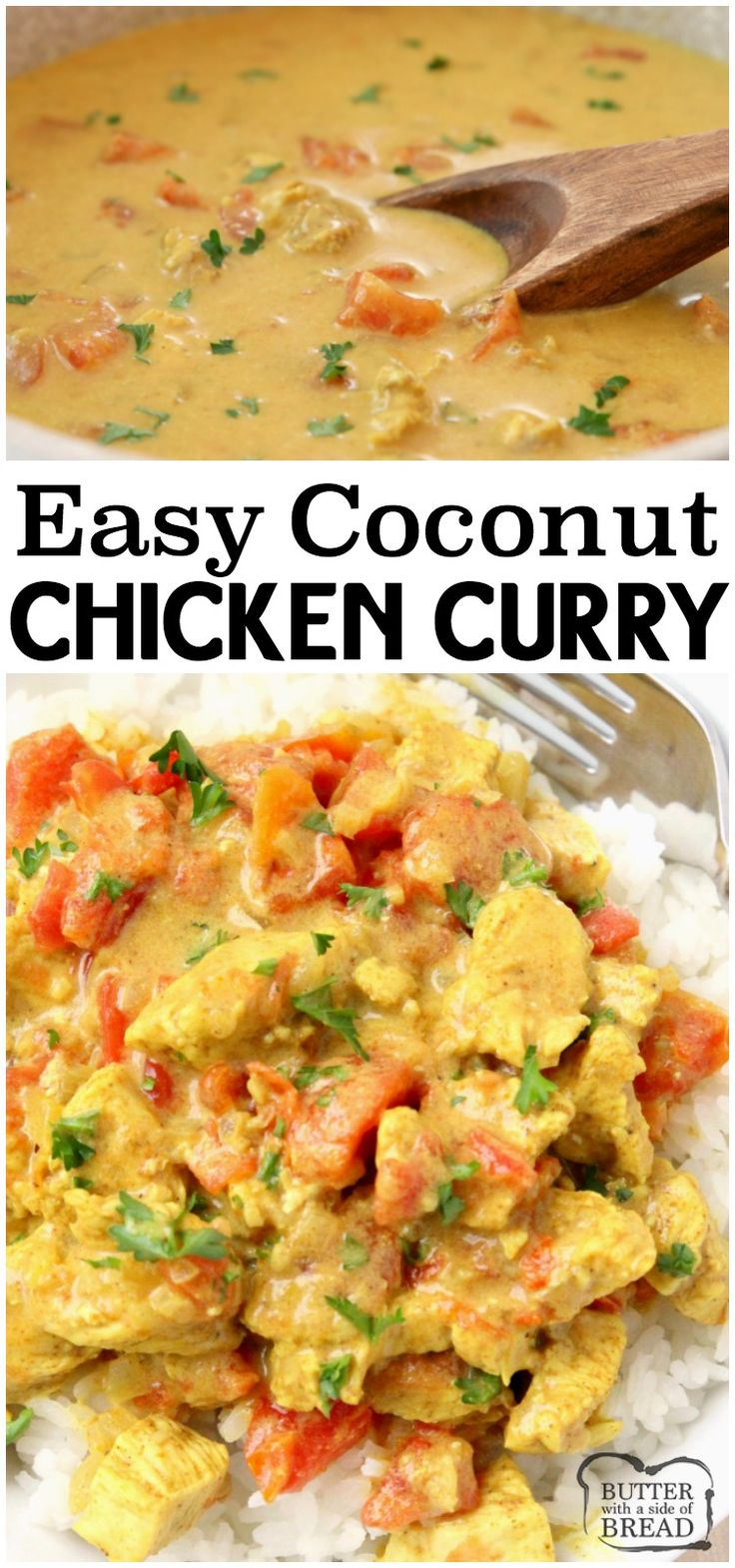 Coconut Chicken Curry recipe perfect for a busy weeknight meal! Simple, flavorfu…