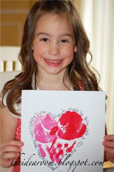 "Handprint valentine with ""loving words"""