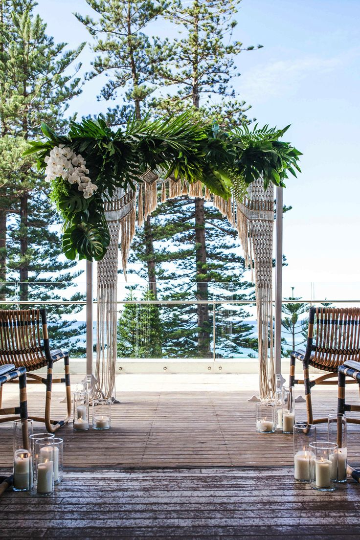 tropical macrame wedding backdrop