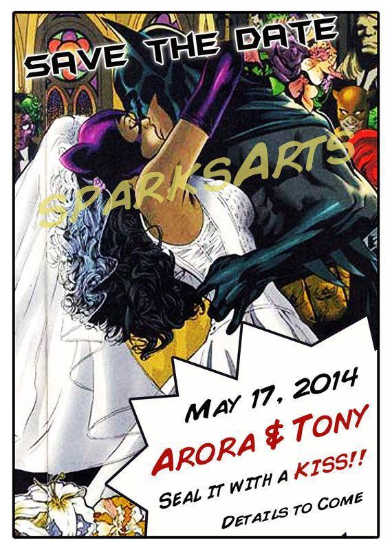 save the date superhero wedding invite comic by - Superhero Wedding Invitations