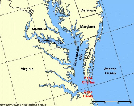 Cape Henry is a cape on the Atlantic shore of VIRGINIA-USA ...Potomac River Map With States
