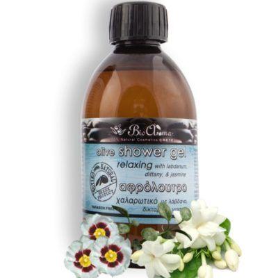Olijf douchegel met dictamus en jasmijn 250ml. Natuurlijke badschuim