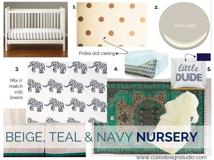 great gender neutral nursery with links to purchase everything you see here! OUR HOUSE- BEIGE, TEAL & NAVY NURSERY