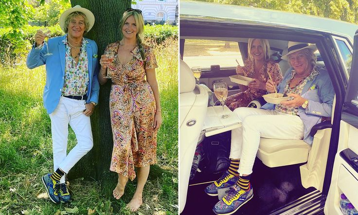 Rod Stewart and Penny Lancaster toast their 13th wedding