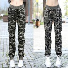 High-Quality New Womens Fashion Casual Loose Camouflage Army Green Outdoors Cargo Pants Elastic Waist Pantalon Femme Trousers(China (Mainland))