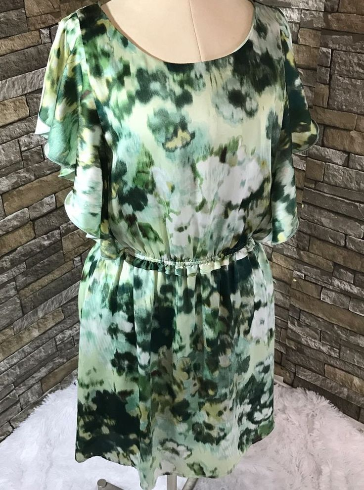 H&M Womens Dress Green Size 8 Water Color Flutter Sleeve-A    eBay