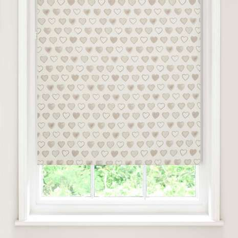 Add a homely touch to your living space with our roller blind, featuring printed love heart design, a blackout lining, and stain proof finish.