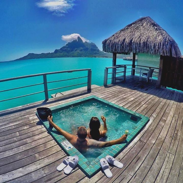 "Couples goals at the St. Regis Resort in Bora Bora French Polynesia courtesy of @hayley_dubai ""Dream Big Eat Well & Travel On"" by luxuryworldtraveler https://www.instagram.com/p/_nl4wXinw6/ #Flickr via https://instagram.com/hotelspaschers"