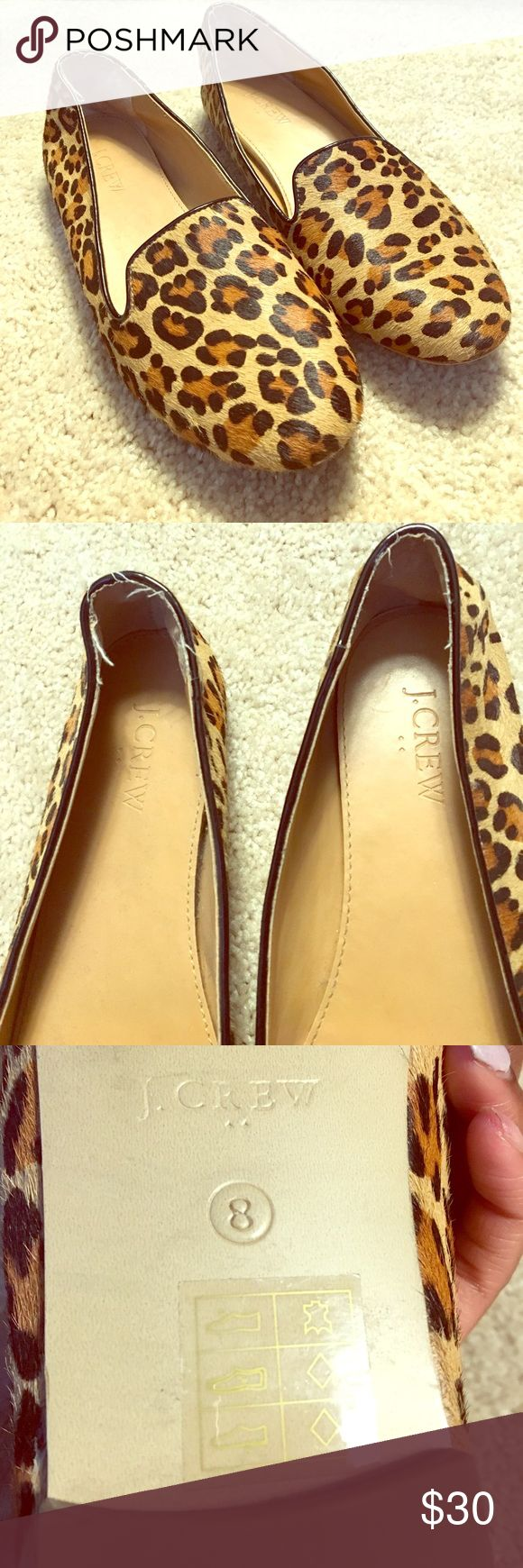 J.Crew Leopard Flats Calf hair, gently worn, Great pattern to throw on with any outfit and perfect for the office. Slight fraying around the heel, but other than that in great condition! J. Crew Shoes Flats & Loafers
