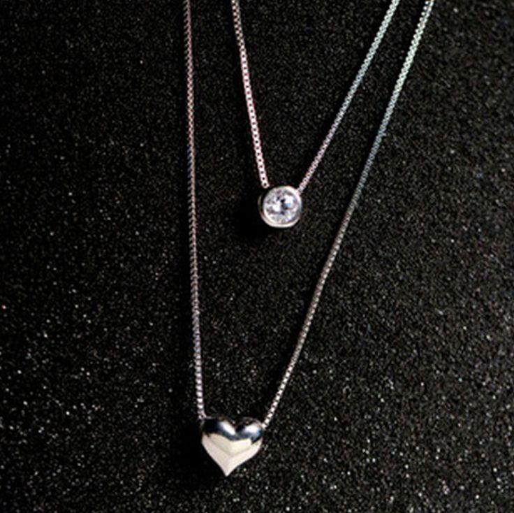 925 sterling silver jewelry aaa imitato diamante cuore di amore collane a più strati doppio choker collana di dichiarazione d342