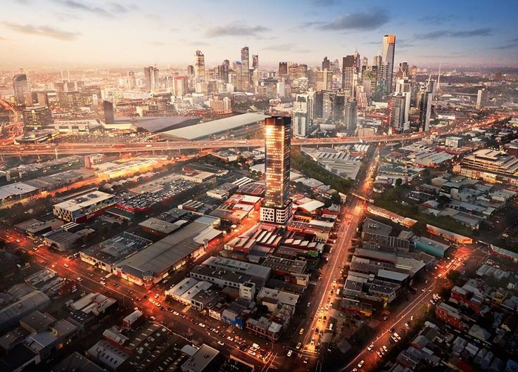 Fantastic image of the new Montague precincts proposed residential tower and the Melbourne city skyline.