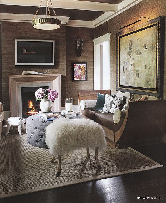 amazing grasscloth walls - LOVE these walls!!