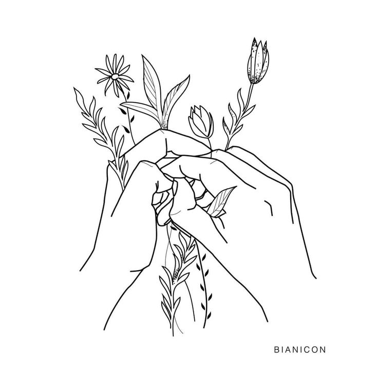 #bianicon #hands #lines #flowers